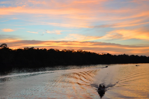 River Boat Sakau Sandakan Borneo Malaysia