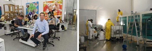 Jeff Koons with assistants in studio (left) Damien Hirst's assistants preparing formaldehyde for Shark (right).
